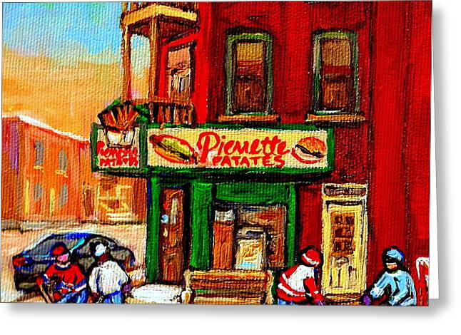 Verdun Connections Greeting Cards - Verdun Street Hockey Pierrettes Restaurant Rue 3900 Verdun -landmark Montreal Hockey Art Work Scenes Greeting Card by Carole Spandau