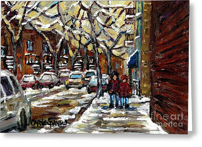 Verdun Connections Greeting Cards - Verdun Winter Row Houses In January Montreal Paintings Time For A Walk Carole Spandau Greeting Card by Carole Spandau
