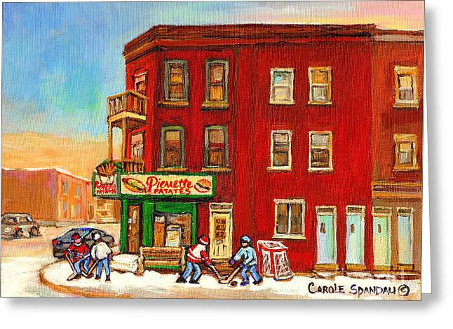 Verdun Connections Greeting Cards - Verdun Winter Scenes-pierrette Patates Deli - Verdun Hockey Art By Carole Spandau Greeting Card by Carole Spandau