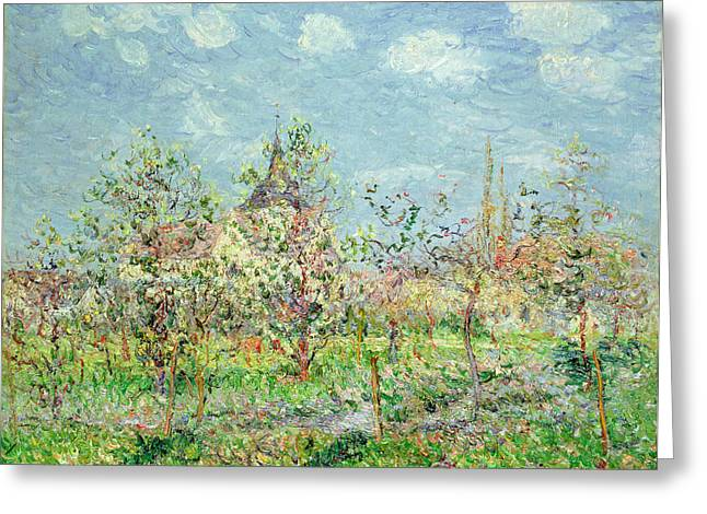 Pointillist Paintings Greeting Cards - Verger en Fleur Greeting Card by Gustave Loiseau