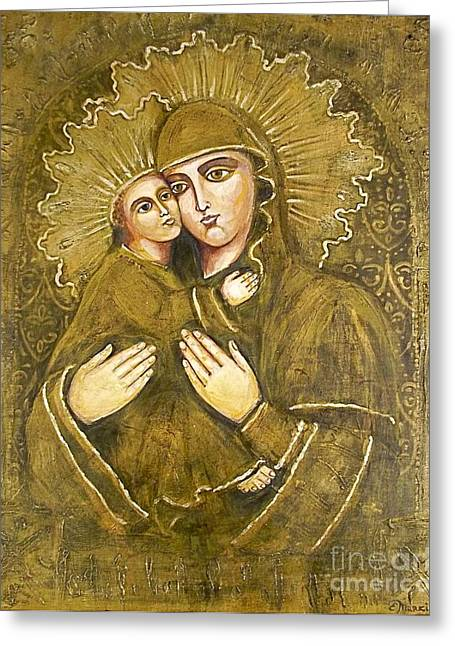 Christ Child Mixed Media Greeting Cards - Vergin Mary with child Christ Greeting Card by Elena Markina