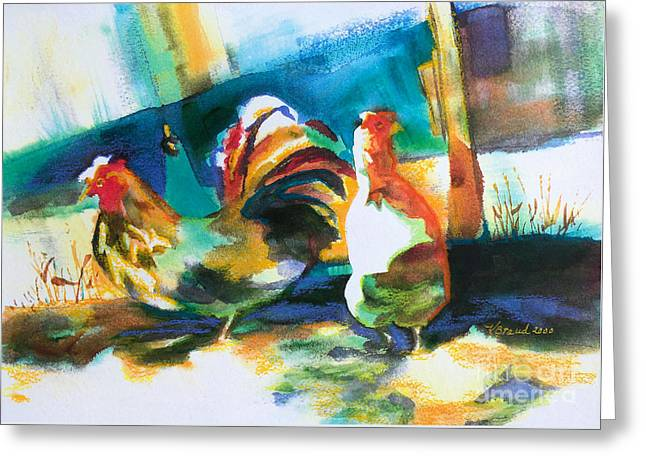 Viridian Greeting Cards - Veridian Chicken Greeting Card by Kathy Braud
