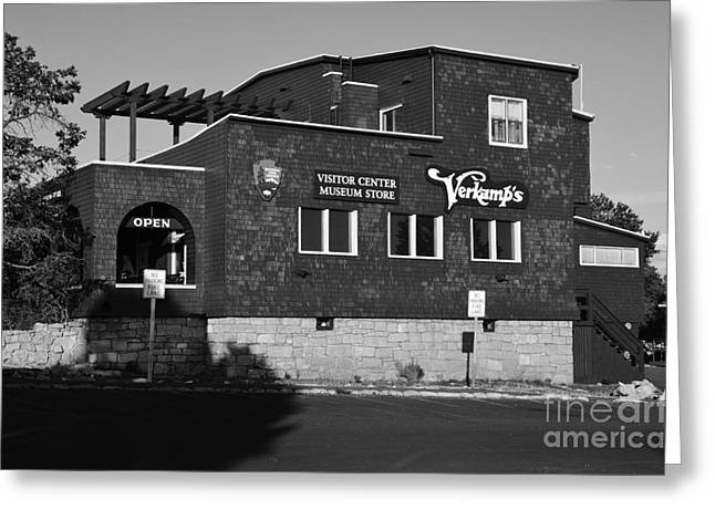 National Park Greeting Cards - Verkamps Historic Visitor Center at Grand Canyon Village Black and White Greeting Card by Shawn O
