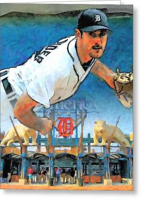 Old Pitcher Greeting Cards - Verlander and Comerica Greeting Card by John Farr