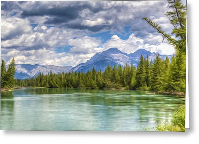 Travel Greeting Cards - Vermilion lakes and Rocky mountains background Greeting Card by Lanjee Chee