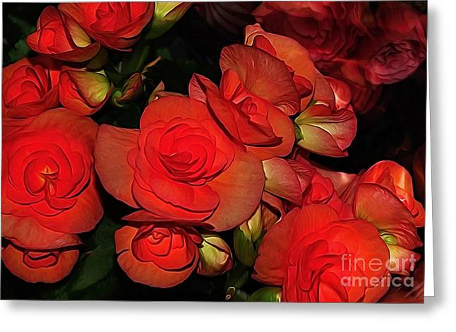 Bouquet Of Roses Greeting Cards - Vermillion Fire Greeting Card by Kaye Menner