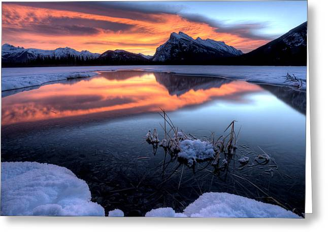 Rundle Greeting Cards - Vermillion Lakes Mount Rundle Greeting Card by Mark Duffy
