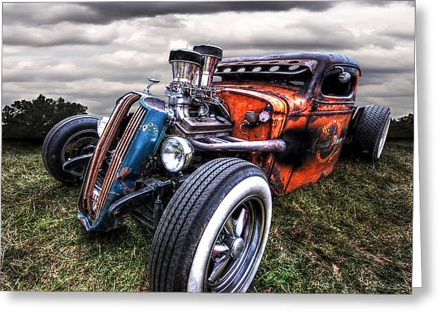 Ford Hotrod Greeting Cards - Vermins Diner Rat Rod Front Greeting Card by Gill Billington