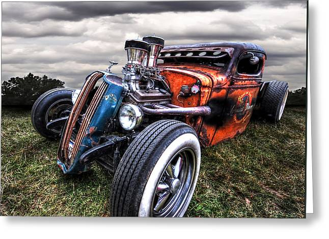 Blue And Green Photographs Greeting Cards - Vermins Diner Rat Rod Front Greeting Card by Gill Billington