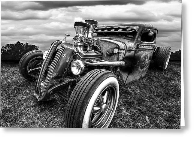 Rusted Cars Greeting Cards - Vermins Diner Rat Rod Front in Black and White Greeting Card by Gill Billington