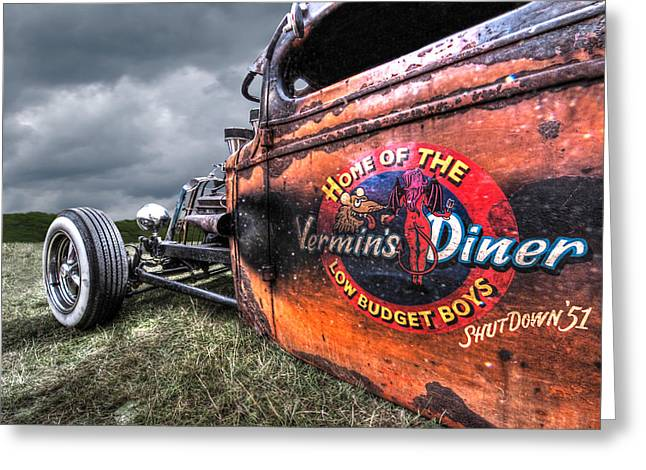 Blue And Green Greeting Cards - Vermins Diner Rat Rod Greeting Card by Gill Billington
