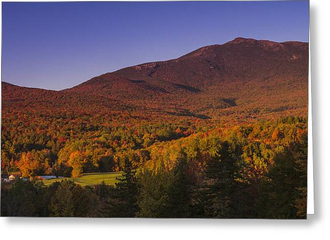 Scenic Drive Greeting Cards - Vermon Autumn Sunset Mount Mansfield Mountain Forest Greeting Card by Andy Gimino