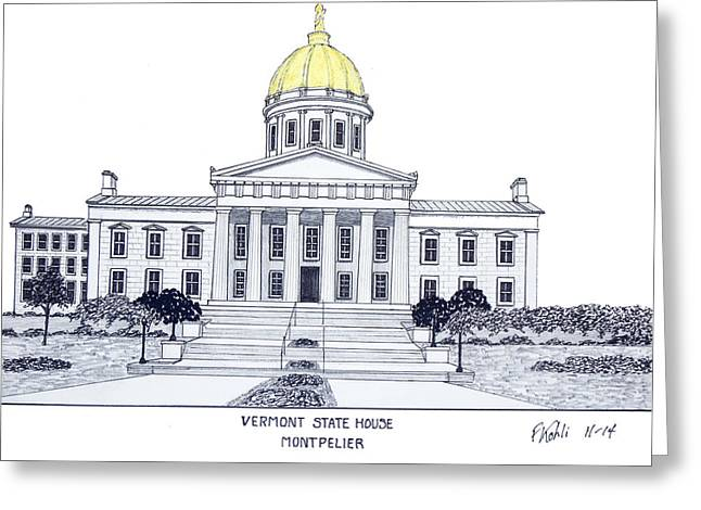 Historic Buildings Greeting Cards - Vermont State House Greeting Card by Frederic Kohli