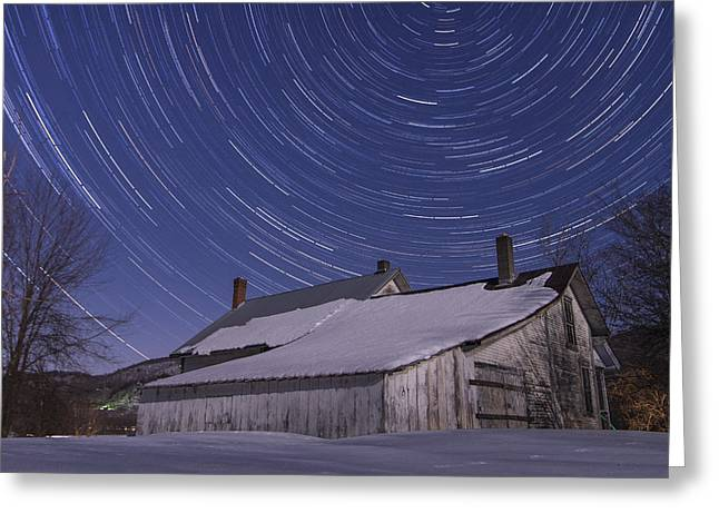 Winter Scenes Rural Scenes Greeting Cards - Vermont abandonded Farmhouse Night star trails Greeting Card by Andy Gimino