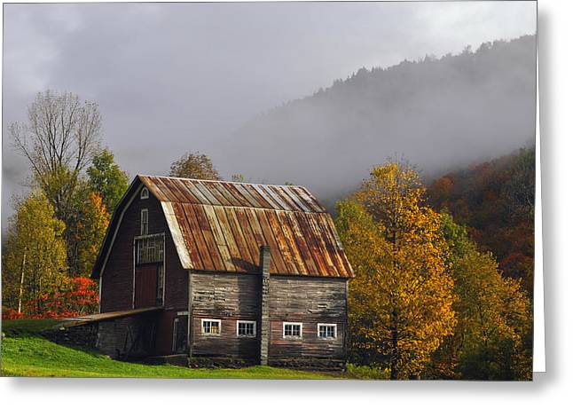 Rustic Photo Greeting Cards - Vermont Autumn Barn Greeting Card by Joseph Rossbach