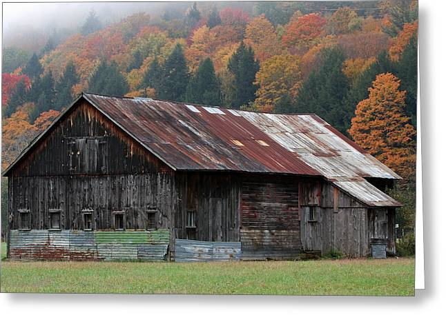 Herbst Greeting Cards - Vermont Barn and Fall Foliage   Greeting Card by Juergen Roth