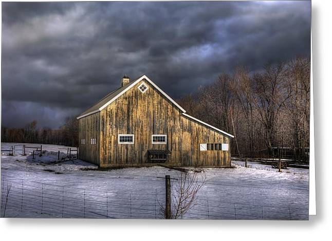Winter Scenes Rural Scenes Greeting Cards - Vermont Barn in Snow - Stowe Vermont Greeting Card by Joann Vitali