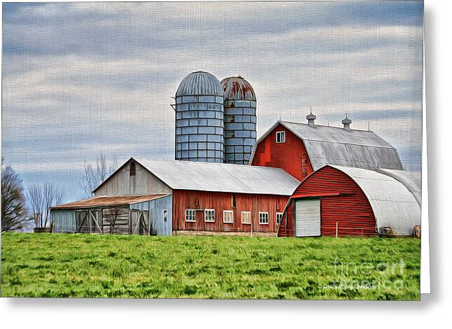 Cupola Greeting Cards - Vermont Barn in Oil Greeting Card by Deborah Benoit