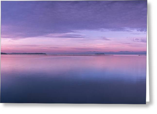 Champlain Greeting Cards - Vermont Burlington Lake Champlain Panorama Sunrise Greeting Card by Andy Gimino