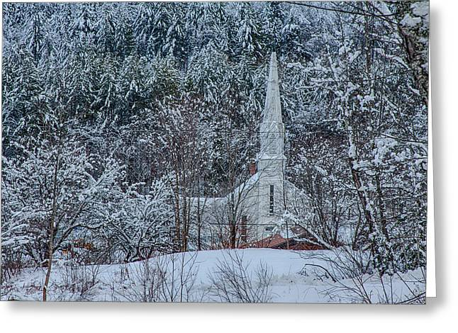 Roxbury Greeting Cards - Vermont church in snow Greeting Card by Jeff Folger