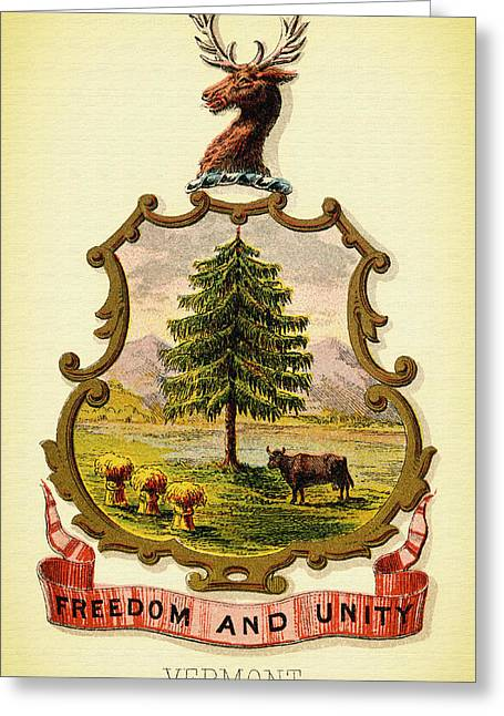 Illustrative Greeting Cards - Vermont Coat of Arms - 1876 Greeting Card by Mountain Dreams