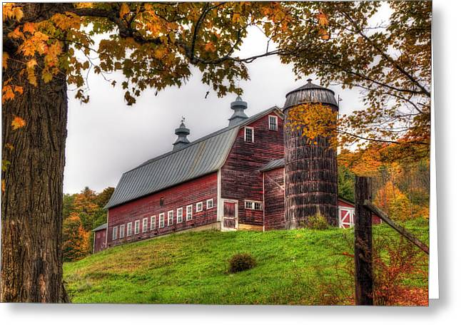 New England Fall Scenes Greeting Cards - Vermont Country Barn in Autumn Greeting Card by Joann Vitali