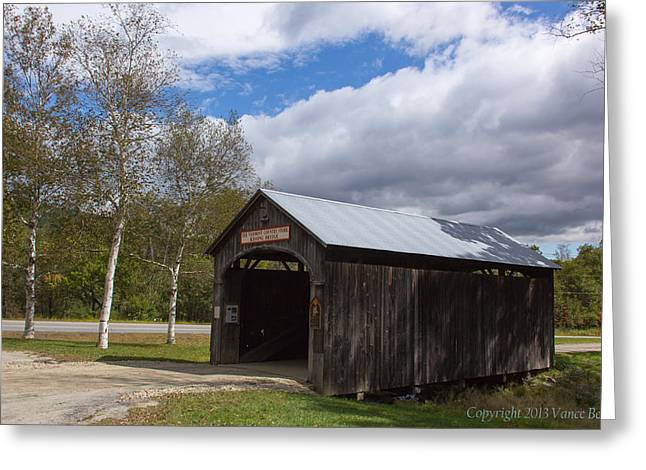 Vermont Country Store Greeting Cards - Vermont Country Store covered bridge Greeting Card by Vance Bell