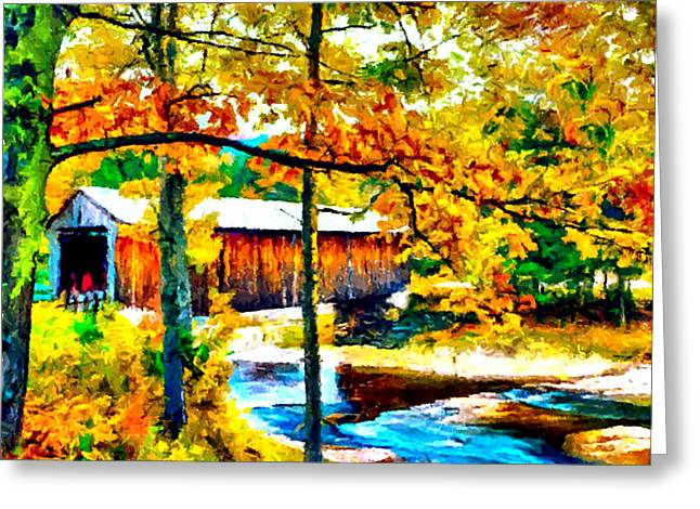 Vermont Covered Bridge Greeting Card by Bob and Nadine Johnston