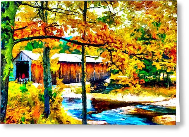 Stream Digital Greeting Cards - Vermont Covered Bridge Greeting Card by  Bob Johnston