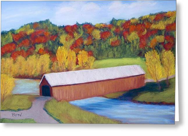 Covered Bridge Pastels Greeting Cards - Vermont Covered Bridge Greeting Card by David Henderson