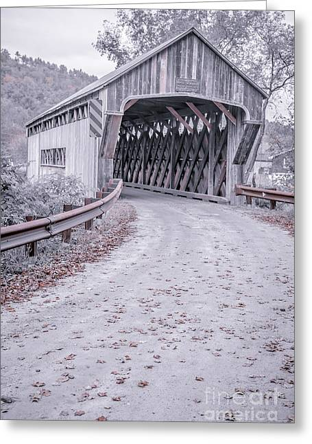 Old Country Roads Greeting Cards - Vermont Covered Bridge Greeting Card by Edward Fielding