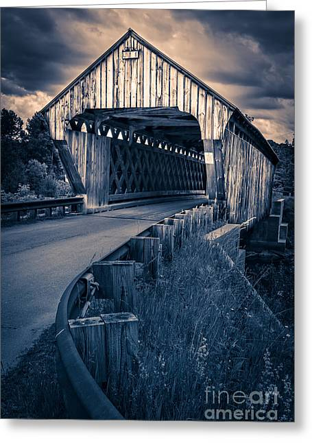 """""""new Hampshire"""" Greeting Cards - Vermont Covered Bridge in Moonlight Greeting Card by Edward Fielding"""