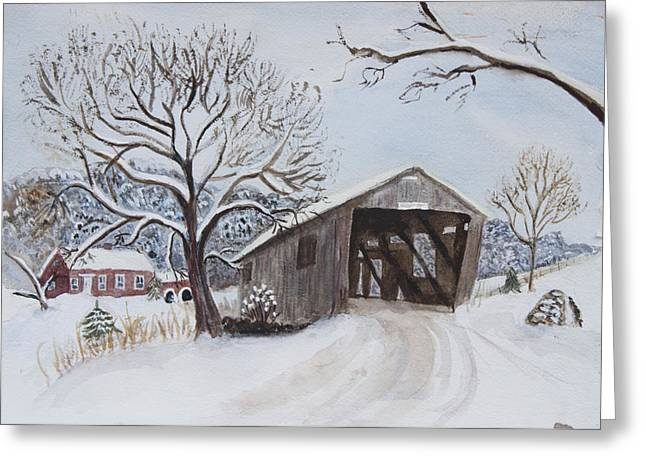 Vermont Covered Bridge In Winter Greeting Card by Donna Walsh