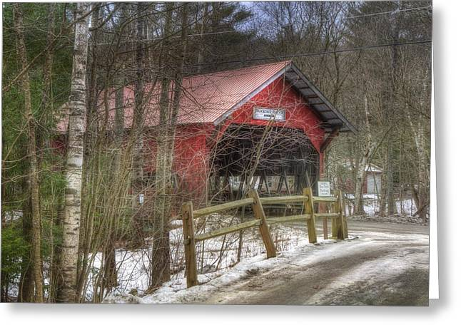 New England Snow Scene Greeting Cards - Vermont Covered Bridge - Stowe Vermont Greeting Card by Joann Vitali