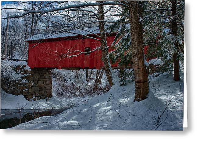 Covered Bridge Greeting Cards - Vermont covered bridge winter afternoon Greeting Card by Jeff Folger