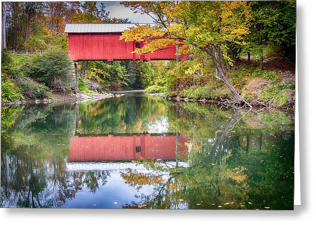 Autumn Greeting Cards - Vermont fall colors and covered bridge reflection Greeting Card by Jeff Folger