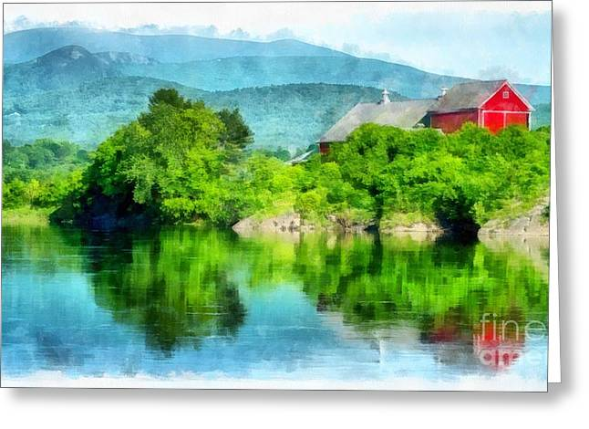 Connecticut River Greeting Cards - Vermont Farm Along the Connecticut River Greeting Card by Edward Fielding