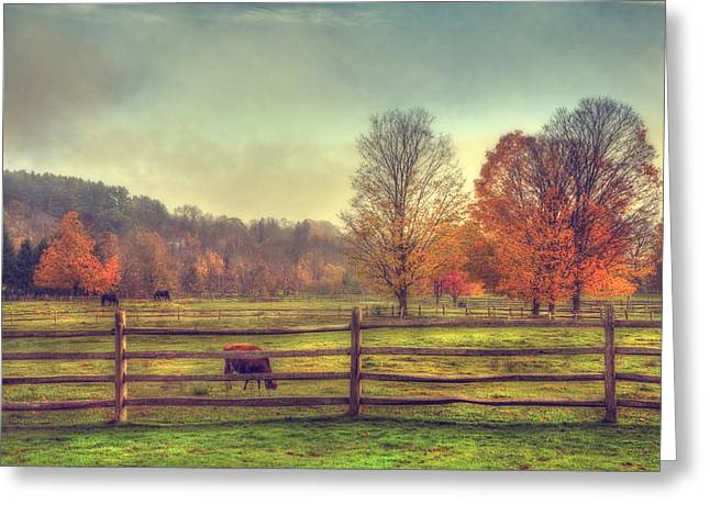 Autumn Scenes Greeting Cards - Vermont Farm in Autumn Greeting Card by Joann Vitali