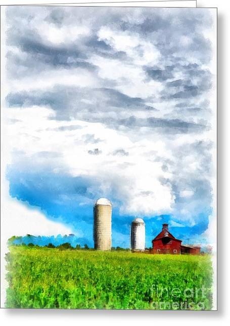 Farming Barns Greeting Cards - Vermont Farm Scape Greeting Card by Edward Fielding