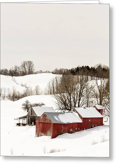 Red Buildings Greeting Cards - Vermont Farm Scene in Winter Greeting Card by Edward Fielding