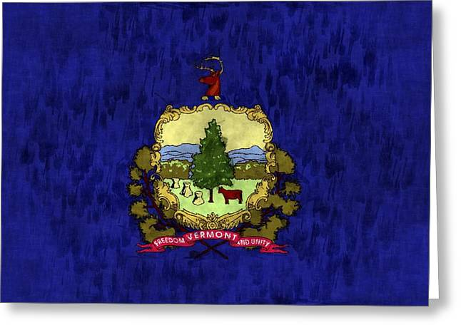 Flag Of Usa Greeting Cards - Vermont Flag Greeting Card by World Art Prints And Designs