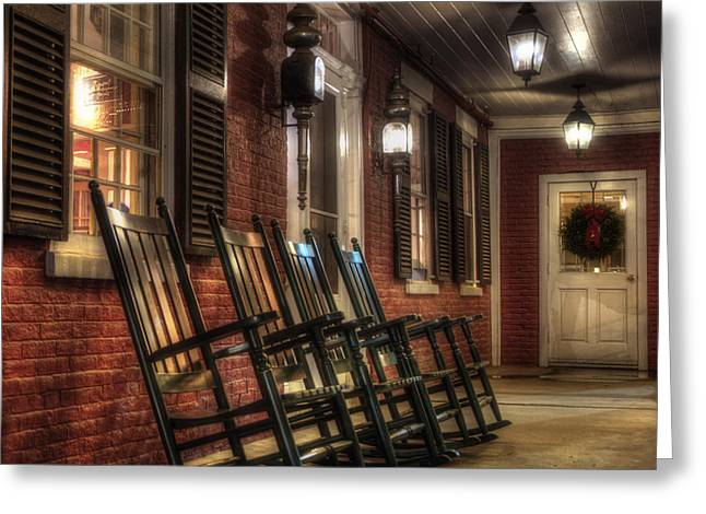 Vermont Winter Greeting Cards - Vermont Front Porch with Rocking Chairs Greeting Card by Joann Vitali