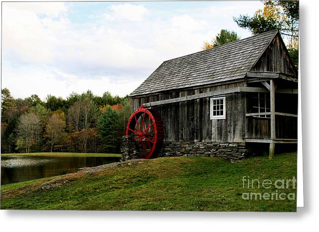 Covered Bridge Greeting Cards - Vermont Grist Mill Greeting Card by DJ Florek
