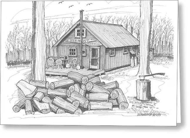 Charleston Drawings Greeting Cards - Vermont Hunter Lodge Greeting Card by Richard Wambach