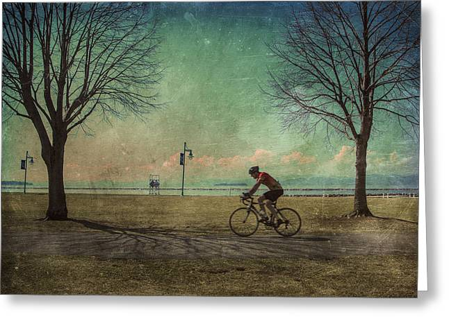 Vermont Lake Champlain Man Bicycle Summer Greeting Card by Andy Gimino