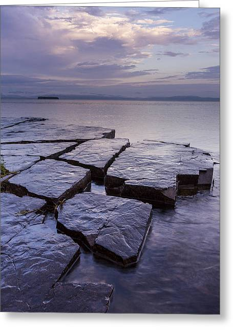 Worn In Greeting Cards - Vermont Lake Champlain Storm Clouds Sunrise Greeting Card by Andy Gimino