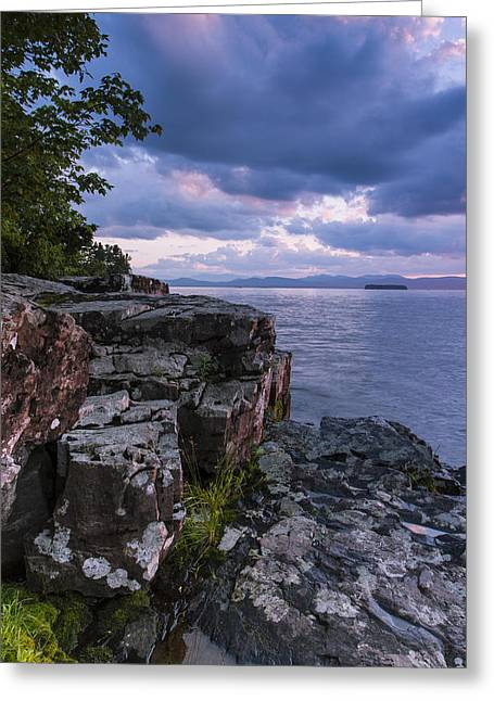 Champlain Greeting Cards - Vermont Lake Champlain Sunset clouds shoreline Greeting Card by Andy Gimino