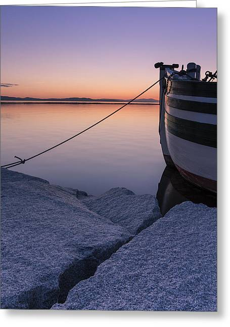 Sailboats In Water Greeting Cards - Vermont Lake Champlain Sunset Nautical Boat  Greeting Card by Andy Gimino