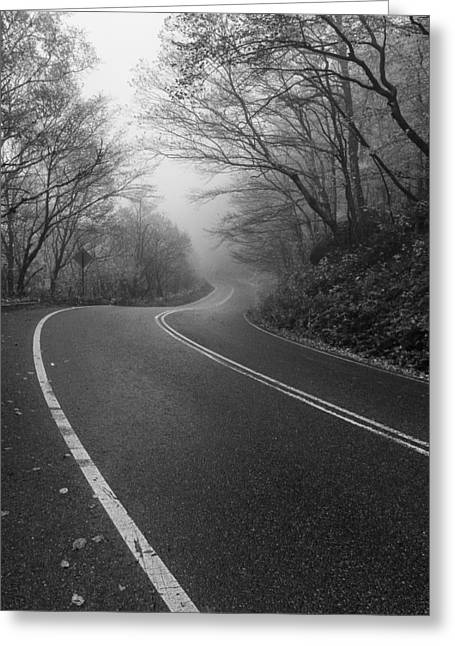 Scenic Drive Greeting Cards - Vermont scene black and white Road forest fog Greeting Card by Andy Gimino