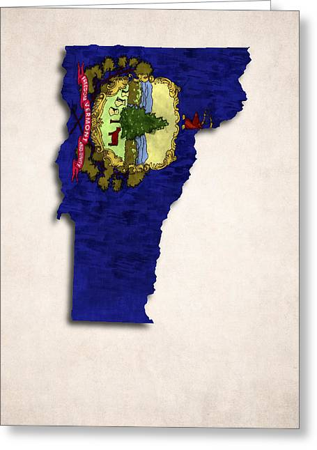 Flag Of Usa Greeting Cards - Vermont Map Art with Flag Design Greeting Card by World Art Prints And Designs